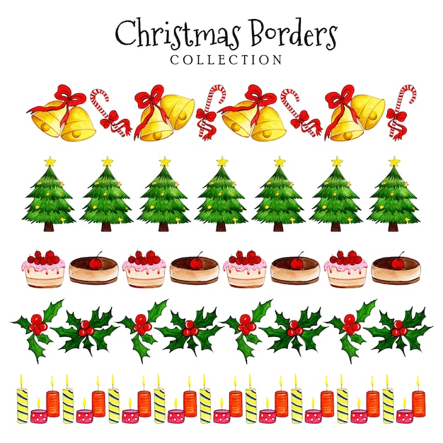 Watercolor christmas borders collection