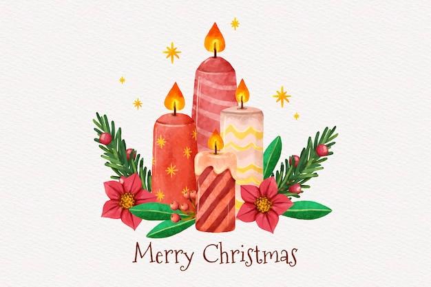 수채화 크리스마스 촛불 배경 무료 벡터