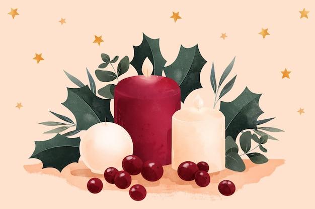 Priorità bassa della candela di natale dell'acquerello Vettore gratuito
