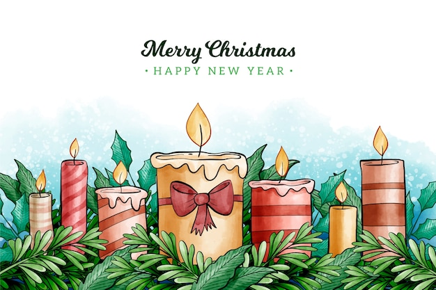 Watercolor christmas candle background Free Vector