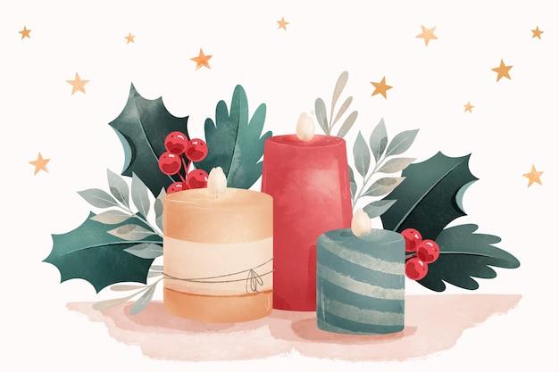 水彩のクリスマスキャンドルの背景 無料ベクター