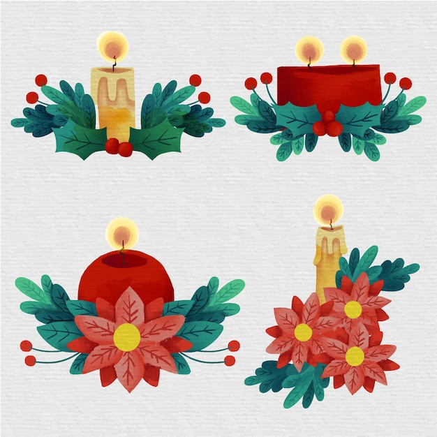 Watercolor christmas candle collection Free Vector