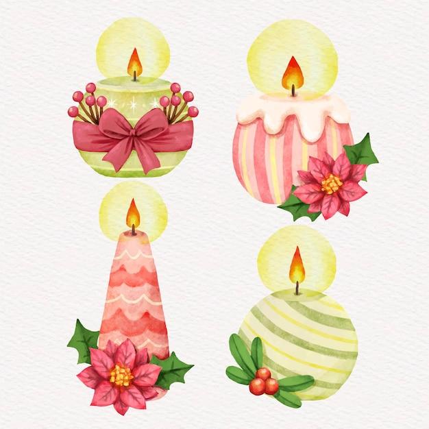 Collezione di candele natalizie dell'acquerello Vettore gratuito