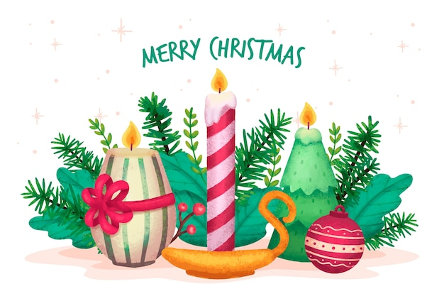 Watercolor Christmas Candle Wallpaper Vector Free Download