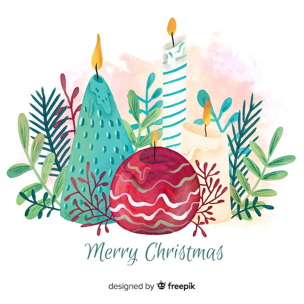 Watercolor christmas candles background Free Vector