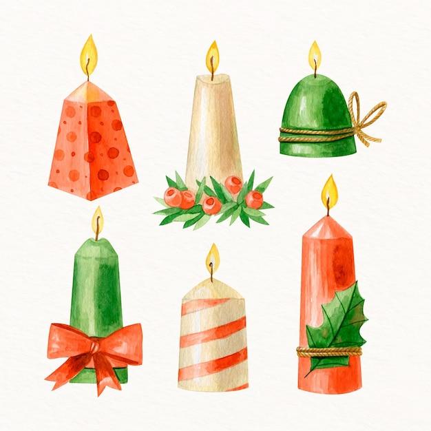 水彩のクリスマスキャンドルセット Premiumベクター