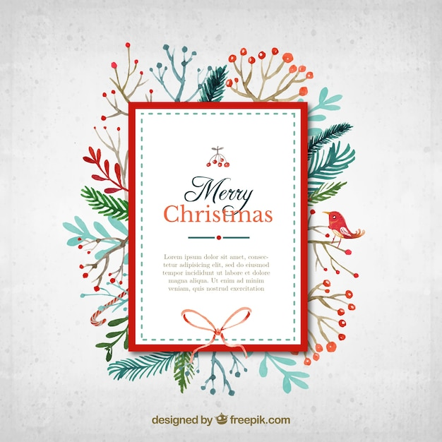 Superb Watercolor Christmas Card In Cute Style Free Vector