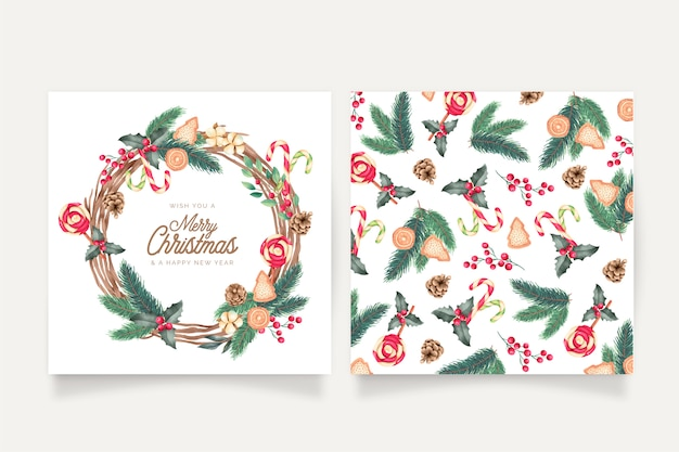 Watercolor christmas card templates Free Vector