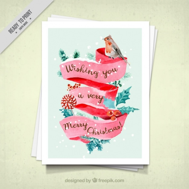 Watercolor Christmas Card With A Bird In Watercolor Style Free Vector