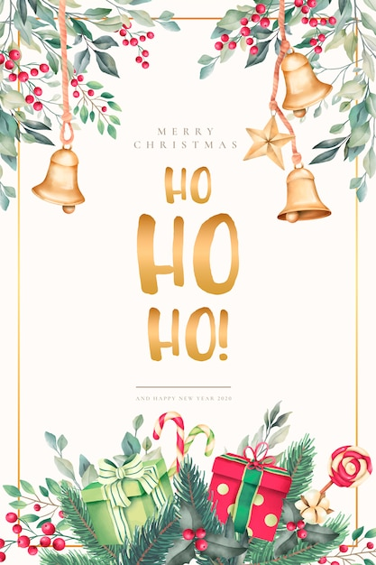 Watercolor christmas card with beautiful ornaments Free Vector