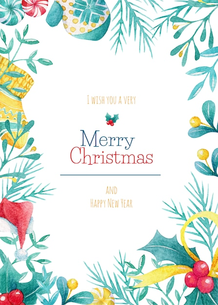 Watercolor christmas card Premium Vector