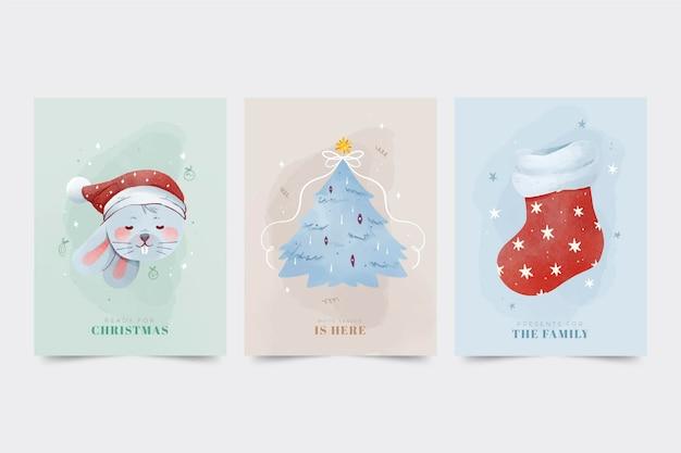 수채화 크리스마스 카드 프리미엄 벡터