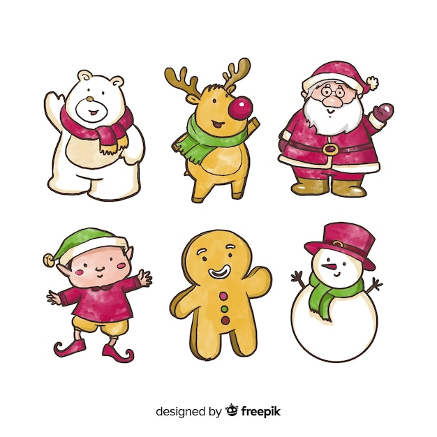 Watercolor christmas characters collection Free Vector
