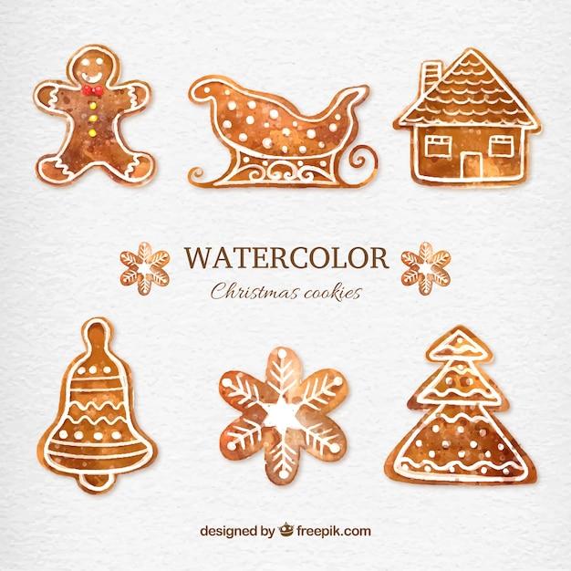Watercolor christmas cookies Free Vector