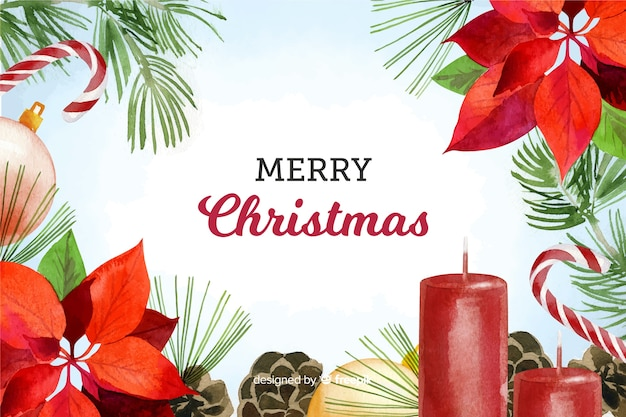 Watercolor christmas decoration background Free Vector
