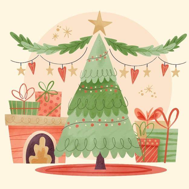Акварельное рождественское украшение Бесплатные векторы