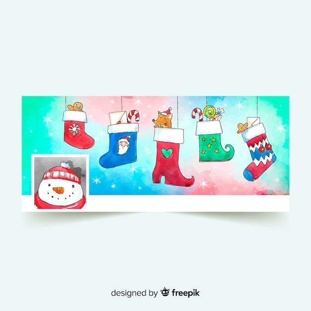 Watercolor christmas design facebook cover Free Vector