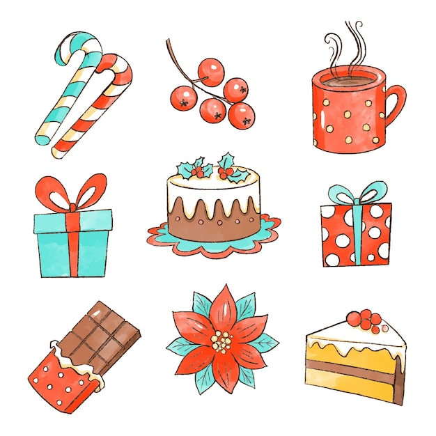 Watercolor christmas element collection Free Vector