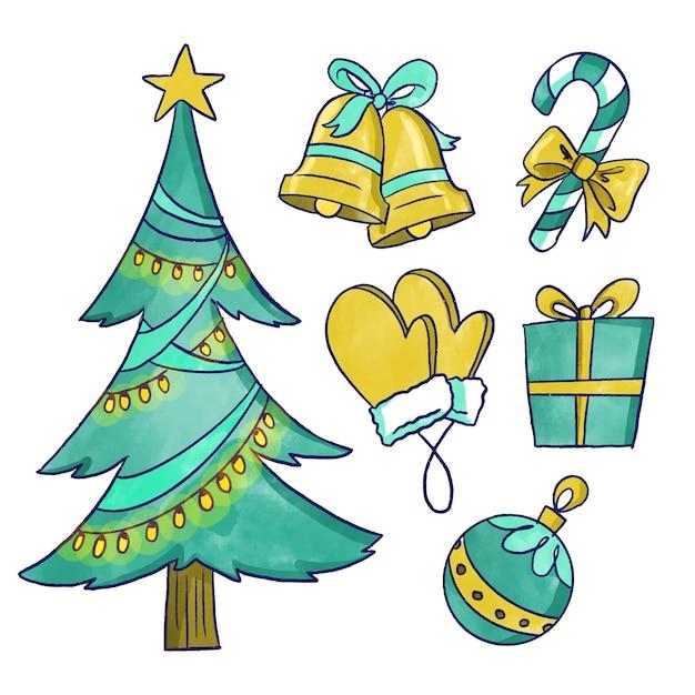Коллекция акварельных рождественских элементов Бесплатные векторы