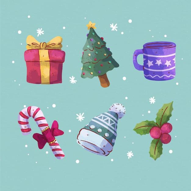 水彩のクリスマス要素コレクション 無料ベクター