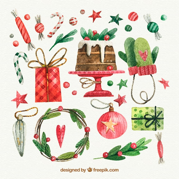 Watercolor christmas elements collection Free Vector