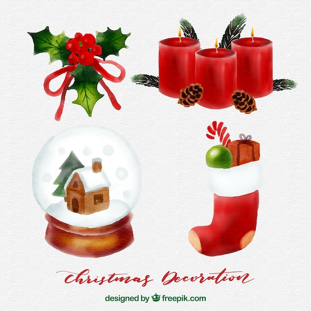 Watercolor christmas elements pack Free Vector