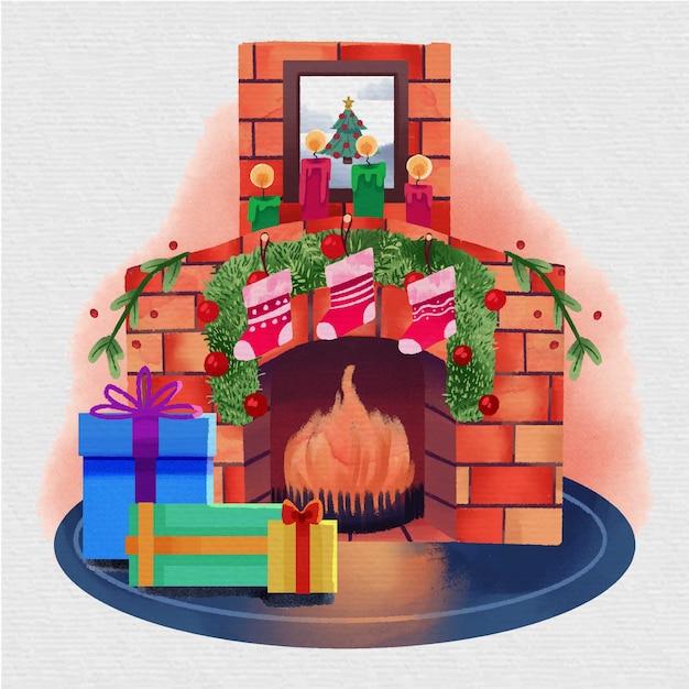 水彩クリスマス暖炉シーン 無料ベクター