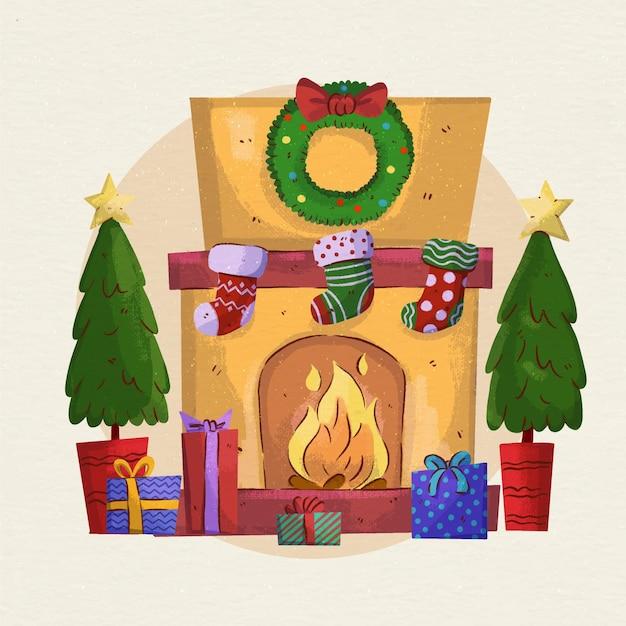 水彩のクリスマス暖炉のシーン 無料ベクター