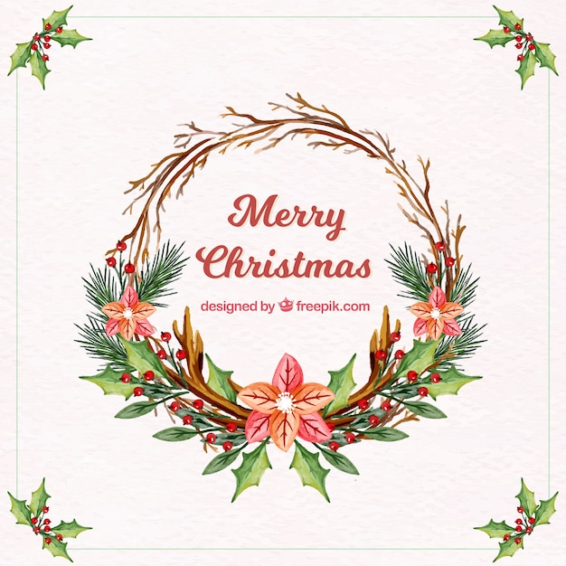 Watercolor Christmas Floral Wreath Background Vector