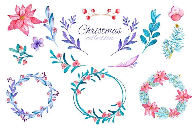 Коллекция акварельных рождественских цветов и венков Бесплатные векторы