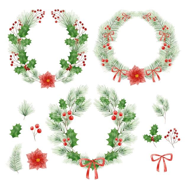水彩のクリスマスの花と花輪のコレクション 無料ベクター