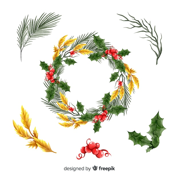 Watercolor christmas flower & wreath collection Free Vector