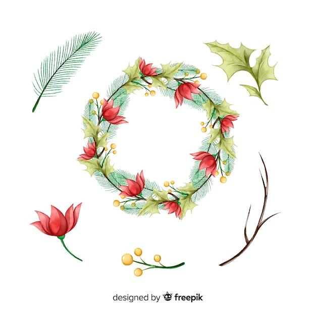 Акварель рождественская коллекция цветов и венков Бесплатные векторы
