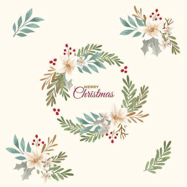 Коллекция акварельных рождественских цветов и венков Premium векторы