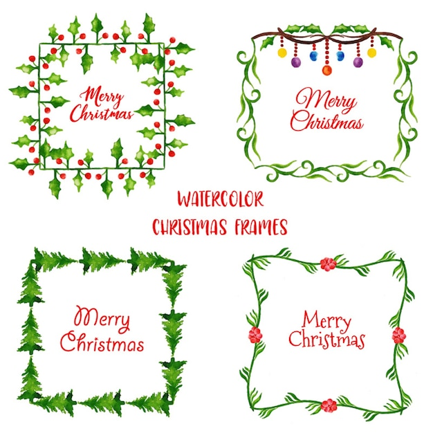 Watercolor Christmas Frame Collection Vector | Free Download