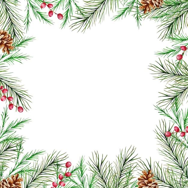 Акварельная новогодняя рамка с зимними еловыми и сосновыми ветками, ягодами и сосновыми шишками. Premium векторы