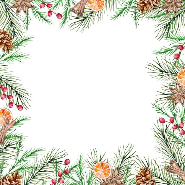 Акварельная новогодняя рамка с зимними еловыми и сосновыми ветками, ягодами, корицей, долькой апельсина и анисом. Premium векторы