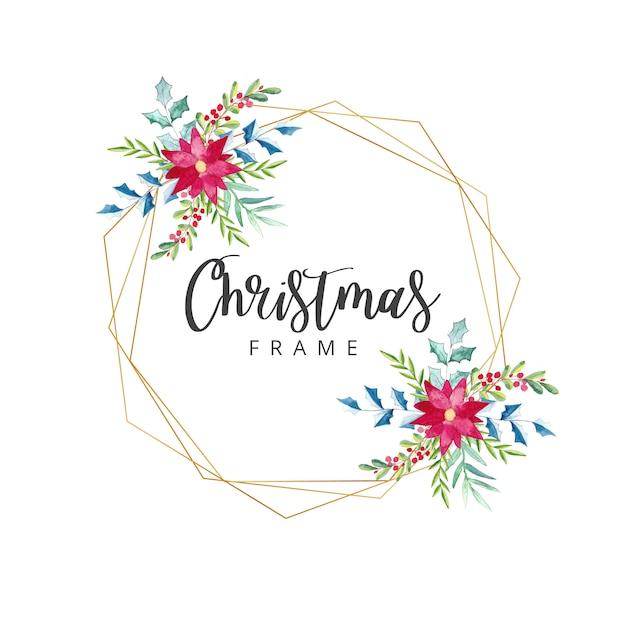 Watercolor christmas frame Premium Vector