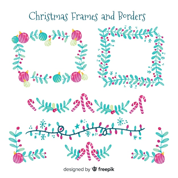 Watercolor christmas frames and borders Free Vector