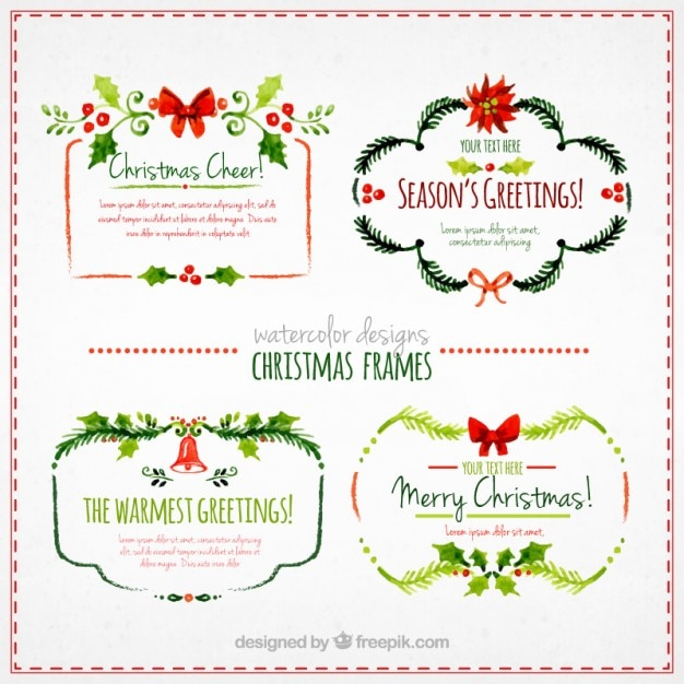 Watercolor christmas frames Vector | Free Download