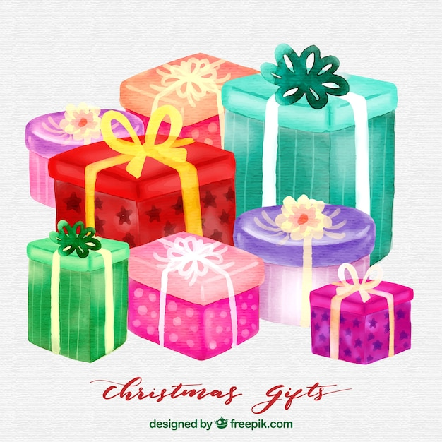 Watercolor Christmas Gifts Background Vector