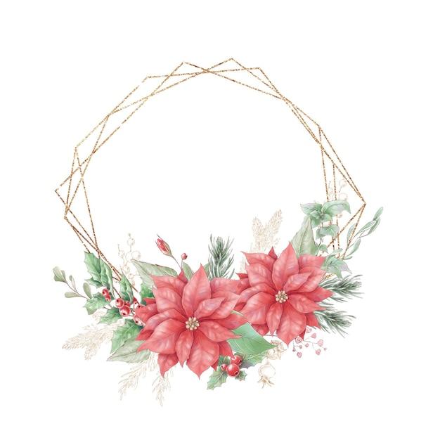 Акварельные рождественские золотые рамки с цветами роз и пуансеттия Premium векторы