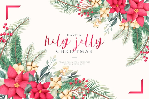 Watercolor christmas greeting card with lovely nature Free Vector