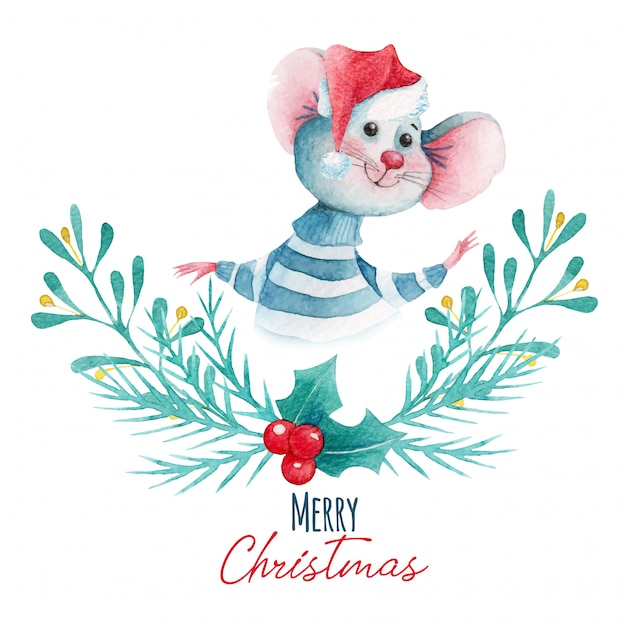 Watercolor christmas illustration of cartoon mouse and decoration elements Premium Vector