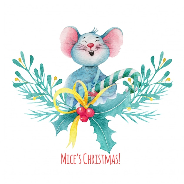 Watercolor christmas illustration of cute mouse with holly berries decorations Premium Vector