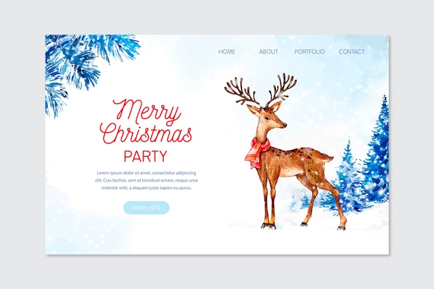 Watercolor christmas landing page Free Vector