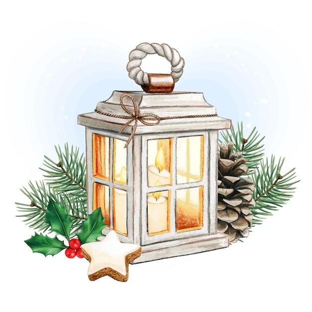 キャンドル、松ぼっくり、ヒイラギと水彩のクリスマスランタン Premiumベクター