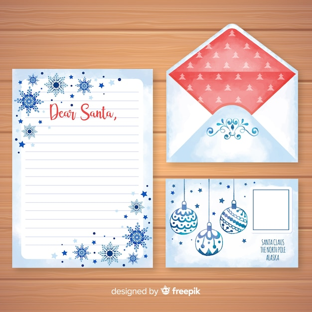 Watercolor Christmas Letter And Envelope Template Vector Free Download
