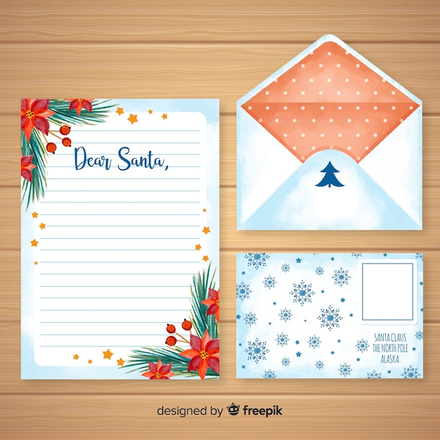 Watercolor Christmas Letter And Envelope Template Vector