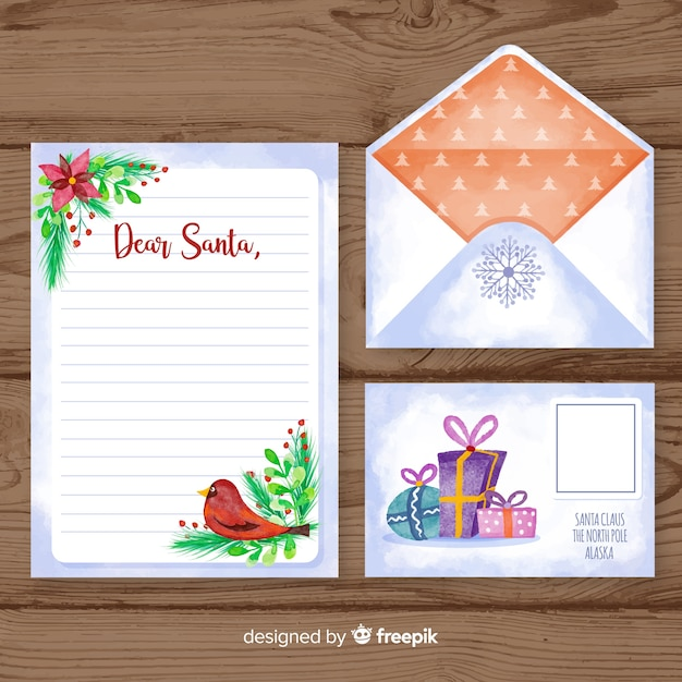 Watercolor christmas letter and envelope template Free Vector